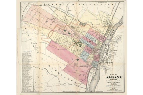 Map of Albany, New York 1874; Antique Map; Custom Printed to Order Map Of Albany New York on map of cohoes new york, map of brooklyn new york, map of niagara falls new york, map of bronx new york, map of westchester new york, map of latham new york, map of watertown new york, map of santa fe new mexico, map of new york weather, map of cooperstown new york, map of dobbs ferry new york, map of new york state, map of newburgh new york, map of canandaigua new york, map of glens falls new york, map of troy new york, map of malone new york, map of schenectady new york, map of owego new york, map of alfred new york,
