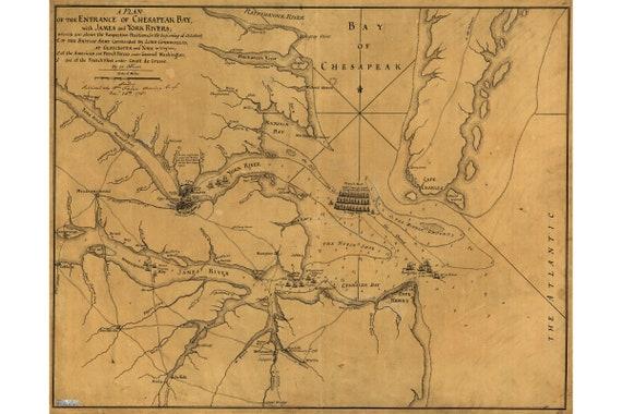 Revolutionary War Map; Siege of Yorktown; Historic Map by Faden, 1781