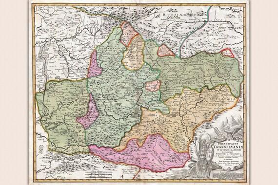 Transilvania Romania Cartina.Mappa Della Transilvania Romania Mappa Antica Cartografia Etsy