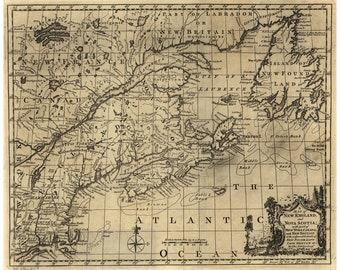 Map of New England & Nova Scotia, Newfoundland, Cape Breton; Antique Map