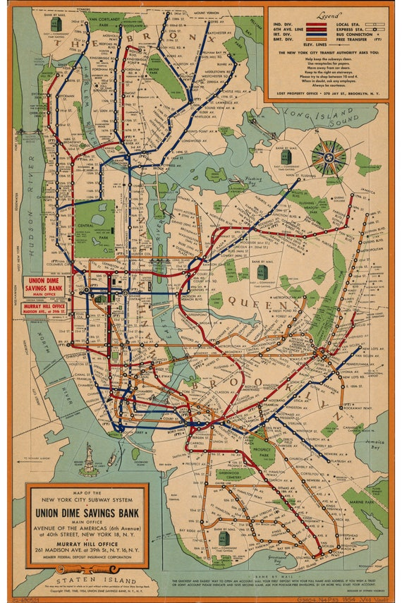 Nyc Subway Map Over Street Map.Nyc Subway Map 1954 New York Union Dime Savings Bank Archival Reproduction
