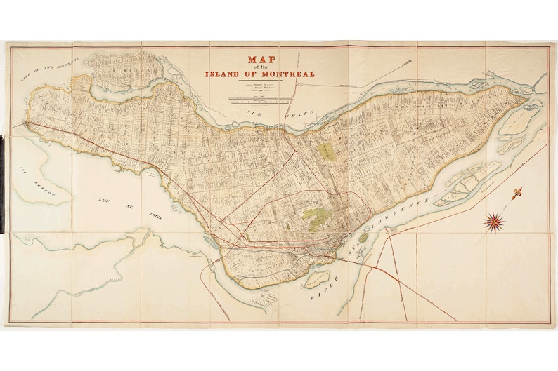 Map of Montreal by Rielle 1892 Beautiful Vintage Cartography | Etsy