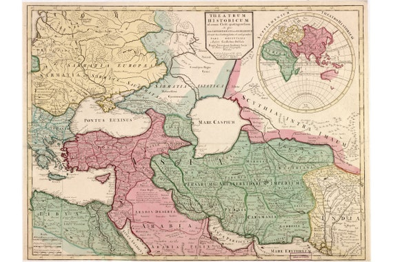 Map Of Roman Empire In 400 Ce As Drawn In 1712 Historic Etsy