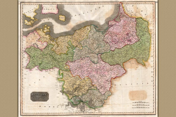 Thomson Illinois Map.Prussia Prussian Dominions Antique Map By Thomson 1815 Etsy