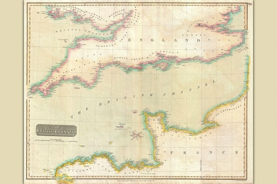 Thomson Illinois Map.English Channel Antique Map By Thomson 1814 Etsy