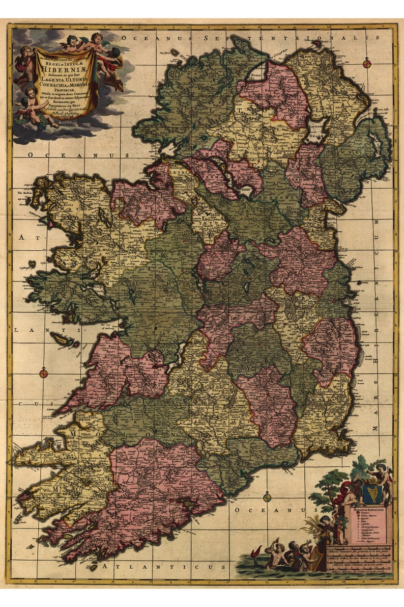 Map Of Ireland By De Wit 1700 Antique Map Custom Printed To Etsy - 1700-us-map