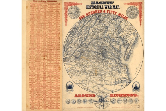 Magnus Historical War Map One Hundred Fifty Miles Around Etsy