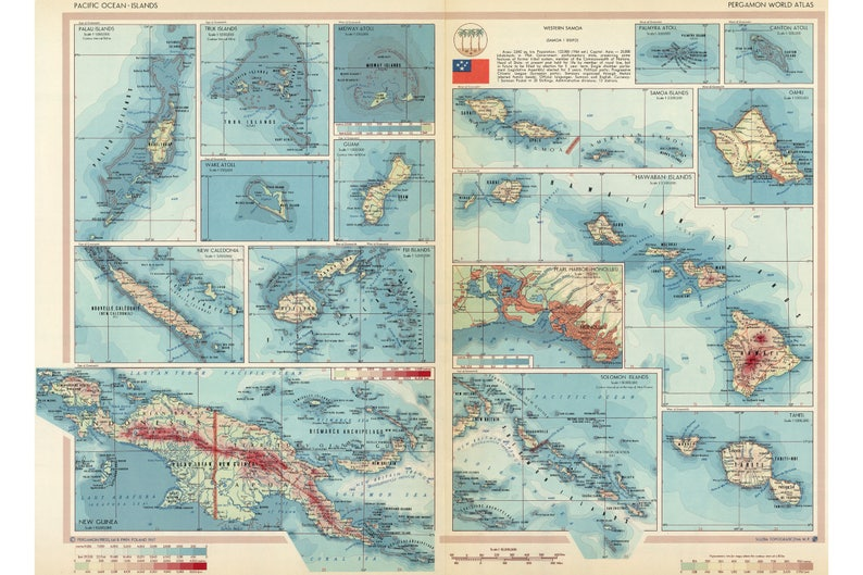 Pacific Islands Map 1967 Fiji Guam Midway Palau New Guinea Tahiti Hawaii