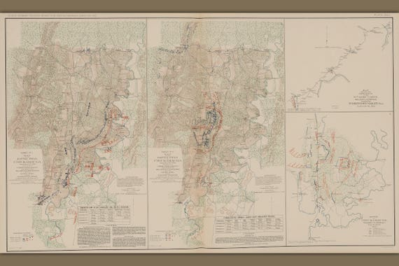 24x36 Vintage Reproduction Civil War Battlefield Franklin Tennessee 1864