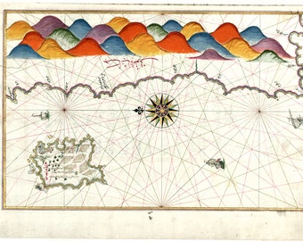 Piri Reis; Map of the Island of Bozjah (Tenedos) off Coast of Anatolia