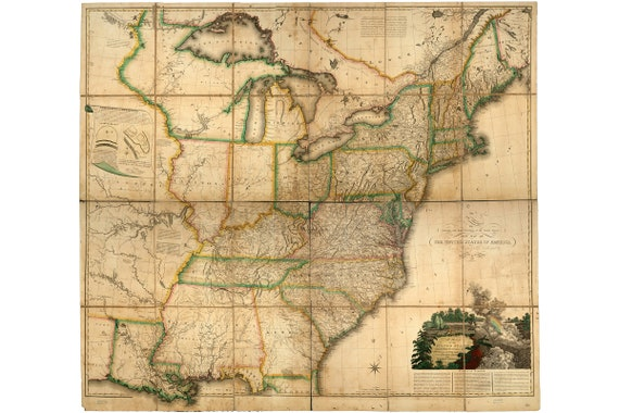 Map of Eastern United States, Canada and British Provinces, 1816