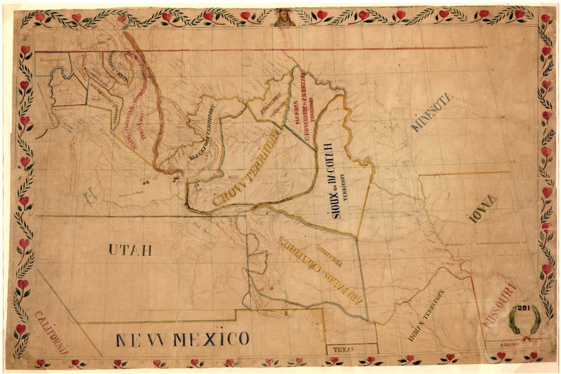 Territories Of North American Indian Tribes Antique Map 1892 Etsy - Us-indian-territory-map