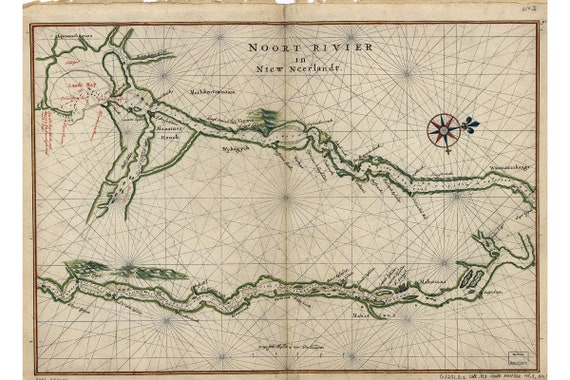 Hudson River; Historic Map by Vingboons 1639
