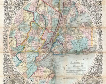 New York City and Vicinity; Stunning Cartography; 1846 Colton Map