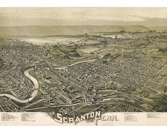 Map of Scranton, Pennsylvania 1890; Antique Birdseye Map