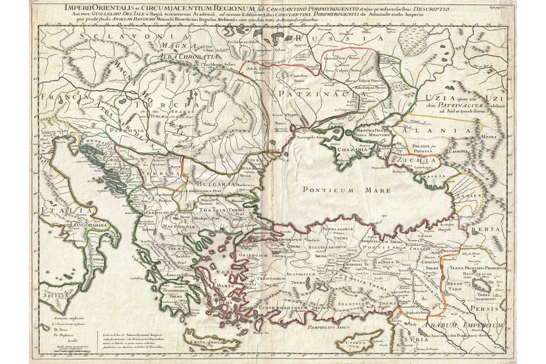 Map Of Eastern Roman Empire Under Constantine Antique Map 1715 Etsy