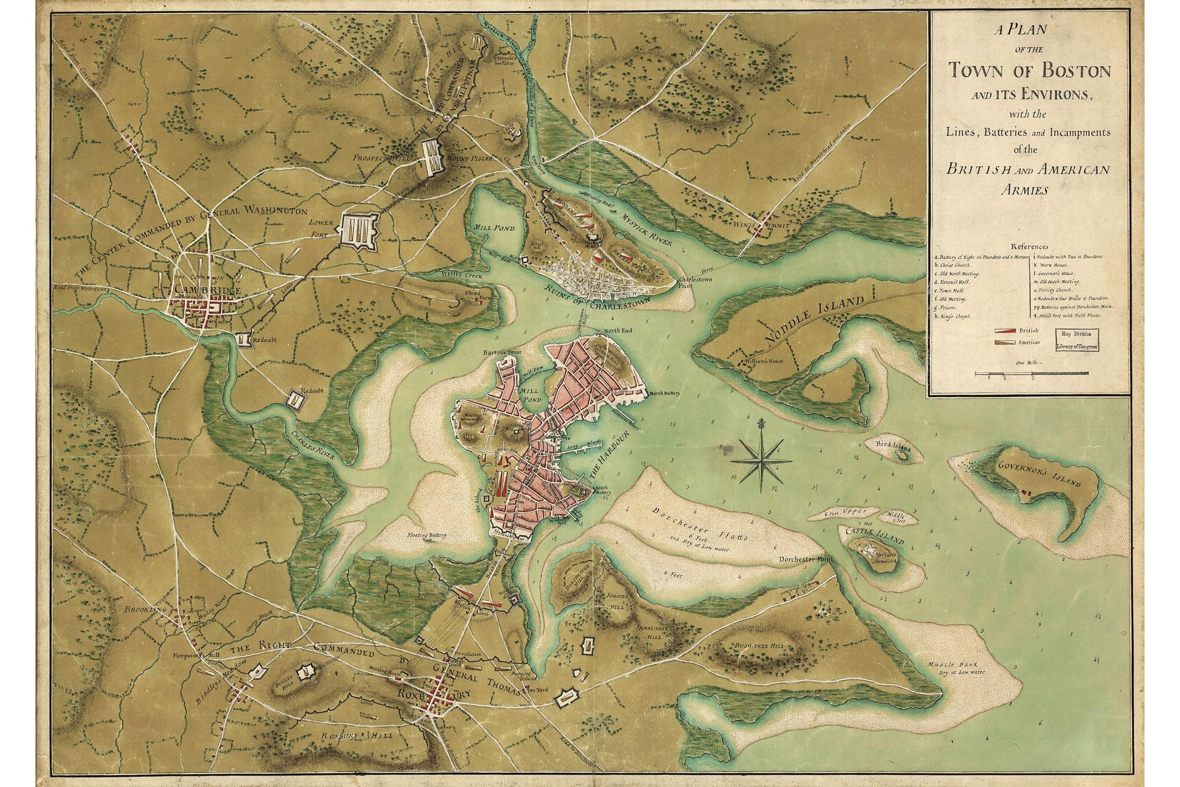 Revolutionary War Map Boston Lines of British & American   Etsy