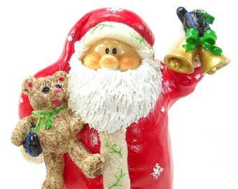 Santa Holding Teddy Bear Christmas Decoration