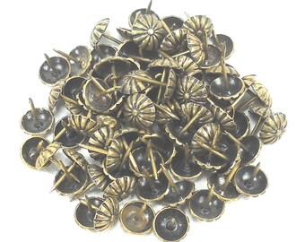 Daisy Upholstery Nails/tacks - One Half  Inch Diameter - 90 Pieces - Antique Brass Finish