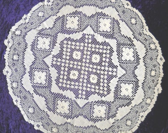 Group of Two Small Lace Tableclothes, One Round and One Square
