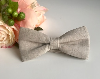 Natural Old York Bow tie handmade with hemp and organic cotton - Pre tied bow tie - Wedding bow tie - Gifts - Groom - Prom -