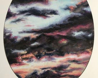 Sunset Sky. Print of Original Oil Painting. Clouds, Sky, Sunset, Sky Painting, Oval, Cloud Painting, Wall Art, Home Decor.
