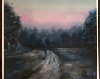 Dawn Cool Tones. Print of Original Oil Painting. Print, Oil on Board, Oil, Sunrise, Dawn, Dusk, Landscape, Wall Art, Home Decor, Painting
