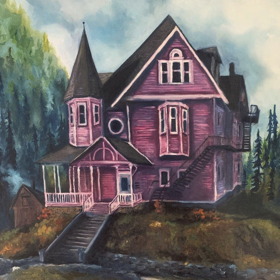 Coraline S Pink Palace Print Of Original Oil Painting Etsy