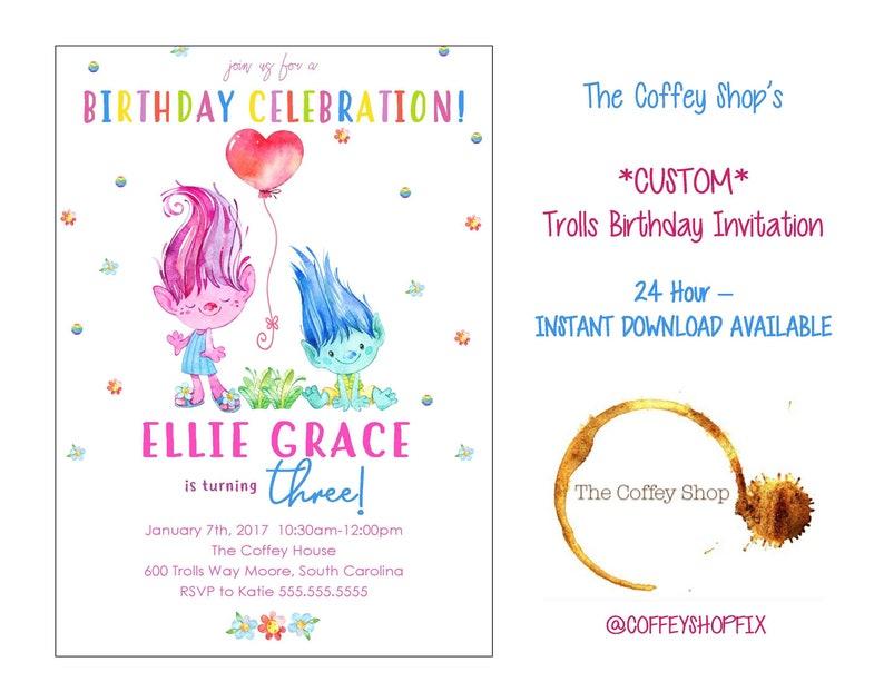 TROLLS CUSTOM INVITATION Trolls Birthday Girls