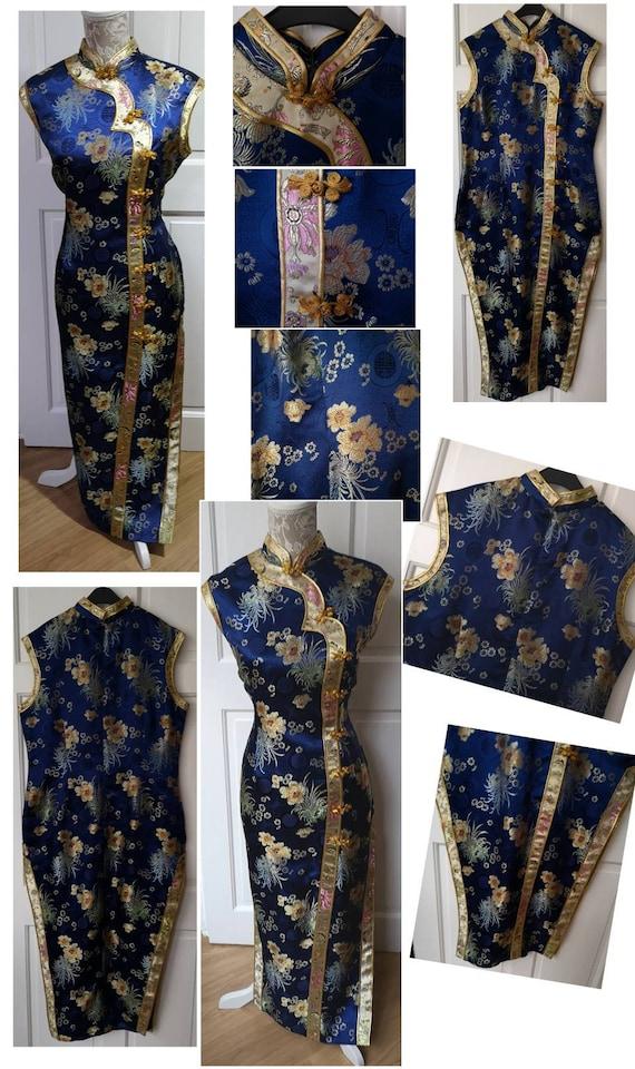 Oriental Coat Metallic Gold Silver Separates 50s Cheongsam Dress Pale Blue