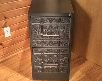 Custom Refinished Steel 2 Drawer File Cabinet / Storage Cabinet / Office Furniture Decor / Craft Storage / Metal Filing Cabinet