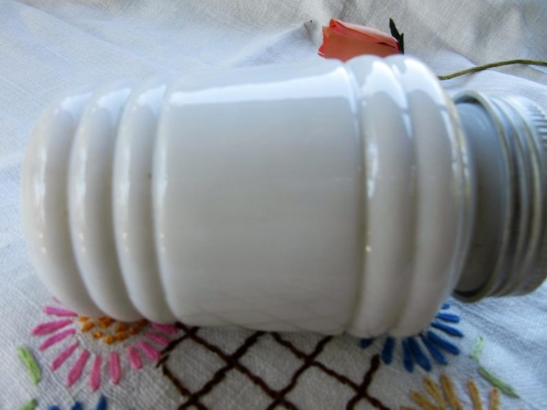 white milk glass shaker retro kitchen metal screw on top chubby with ridges 1920s farmhouse vintage flour or sugar shaker cottage chic