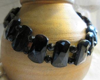 black glass victorian bead choker, hand made, 1880's beads, 1930's clasp. unusual shaped beads, jetlike, deco style necklace, fun,fabulous
