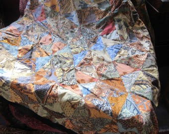 batik fabric coverlet, two layered, pieced, brown tones, earth tones, hand made,boho style,tribal, throw, blanket, 80's vintage, cotton