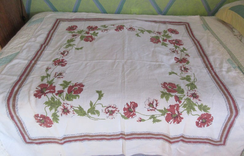 Remarkable 1940S 50S Linen Table Cloth Flax Style Linen Printed Poppy Design With Border Squareish Good Condition Cottage Chic Outdoor Eating Download Free Architecture Designs Scobabritishbridgeorg
