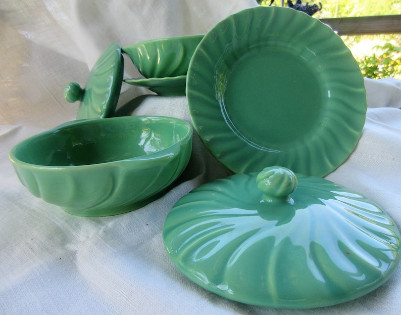 lidded  tureens with plates rare find soft turquoise green, set of 2 individual casseroles 1930s art pottery excellent condition