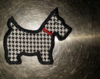 Embroidered Black Glitter Scottie Scottish Terrier Dog Applique Patch Iron On