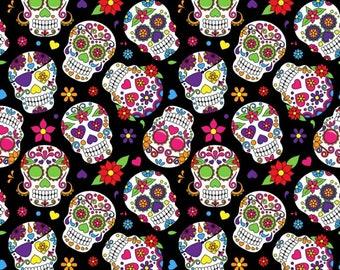 Sugar Skull fabric, 100% cotton fabric
