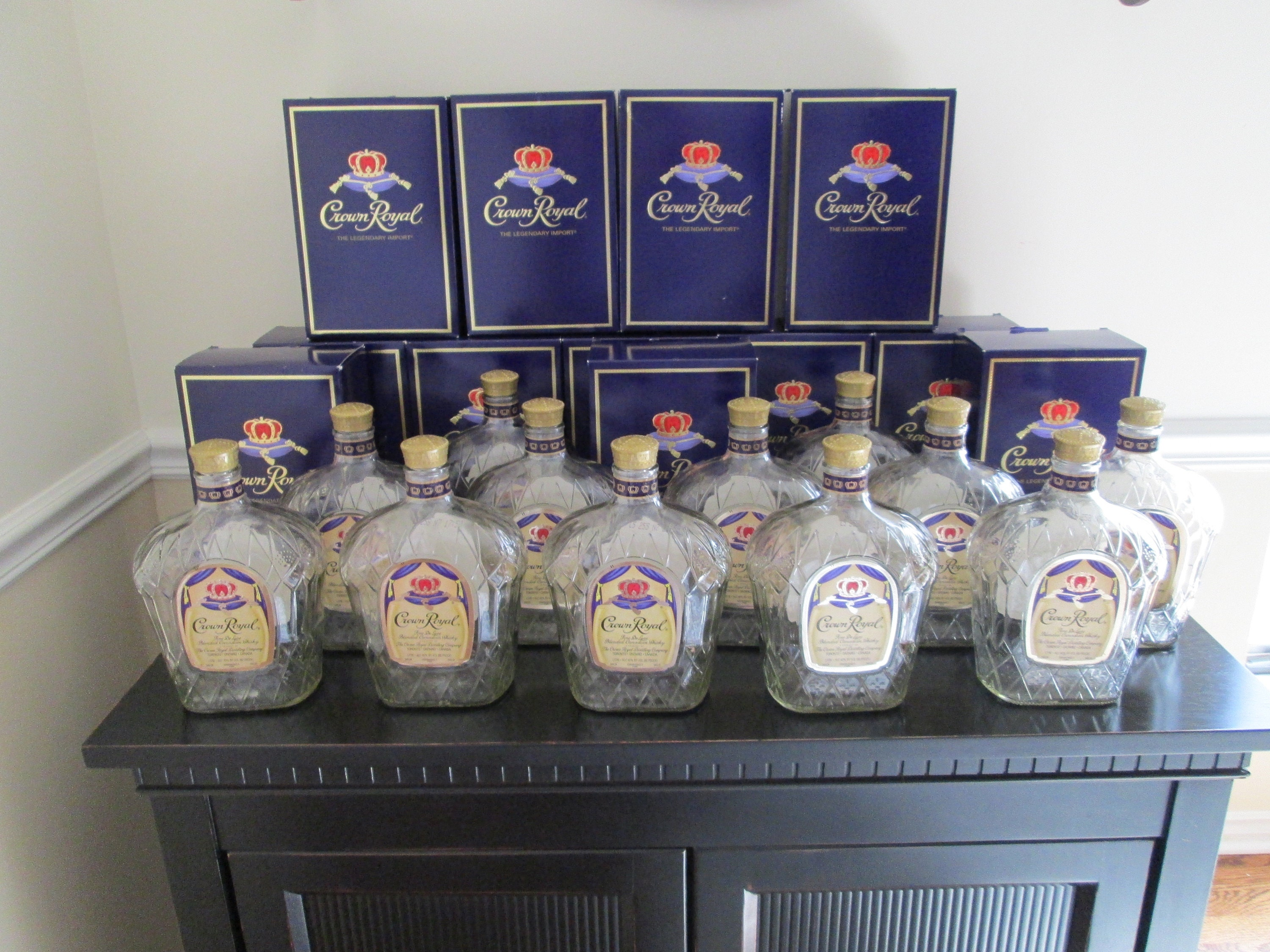 Lot of 3 Empty 1 Liter Crown Royal Whiskey Bottles With Caps and Boxes