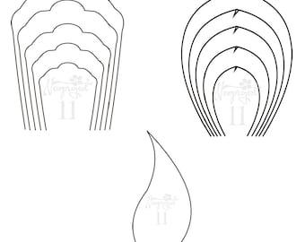 pdf svg set of 3 flower 2 leaf and 2 center templates giant etsy