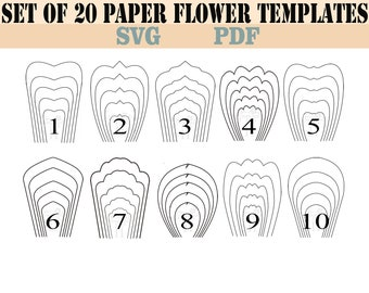 Paper flowers template | Etsy