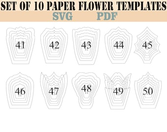 all paper flower template bundle16 petal templates8 leaf etsy