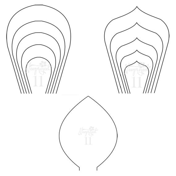 pdf set of 2 flower templates and 1 leaf template giant etsy