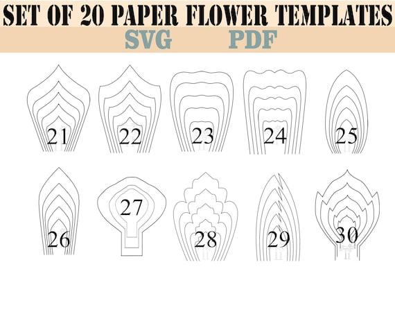 all 20 pdf svg diy giant paper flower template etsy