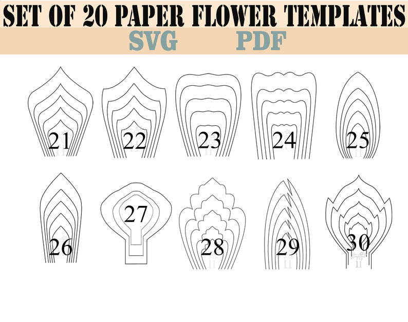 bundle 2-All 20 PDF & SVG  Paper Flower Template giant paper image 0