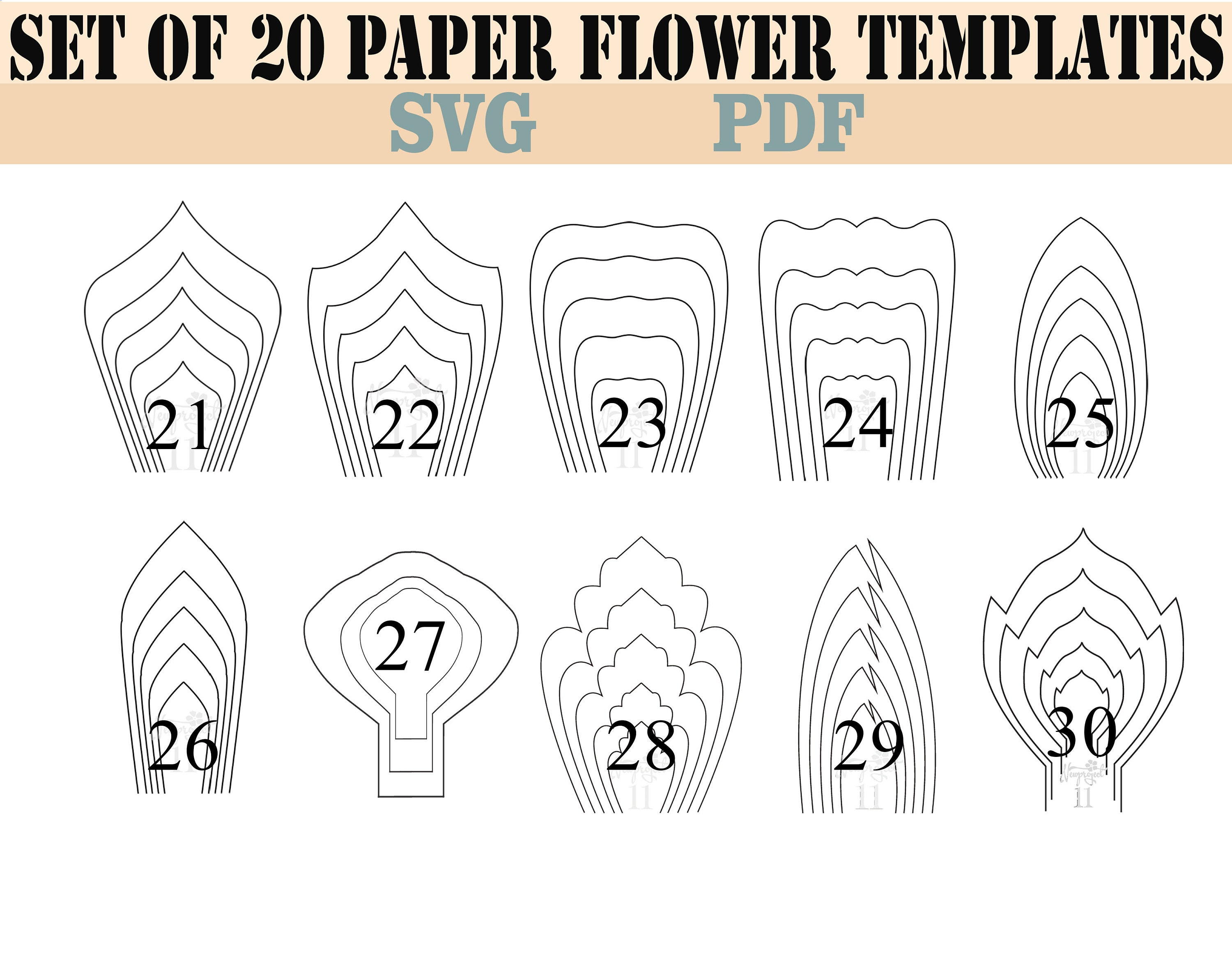 All 20 Pdf Svg Diy Giant Paper Flower Template Etsy