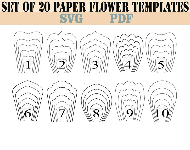 bundle 1-all 20 pdf & svg paper flower template giant paper | etsy