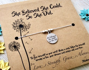 Graduation Gift For Friend Gift For Her College Graduation High School Womens Gift Women Inspirational She Believed She Could So She Did