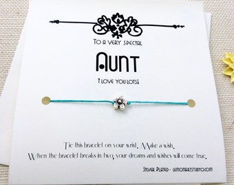 Gift For Aunt From Niece Birthday Card Bracelet Wish