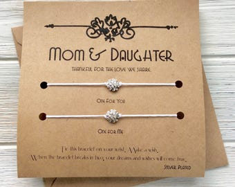 Mom Gift For Birthday Mother Valentines Day Gifts From Daughter Wish Bracelet Card